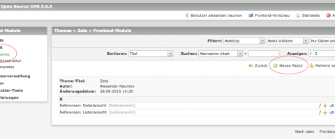 Screenshot: Neues Frontend Modul anlegen